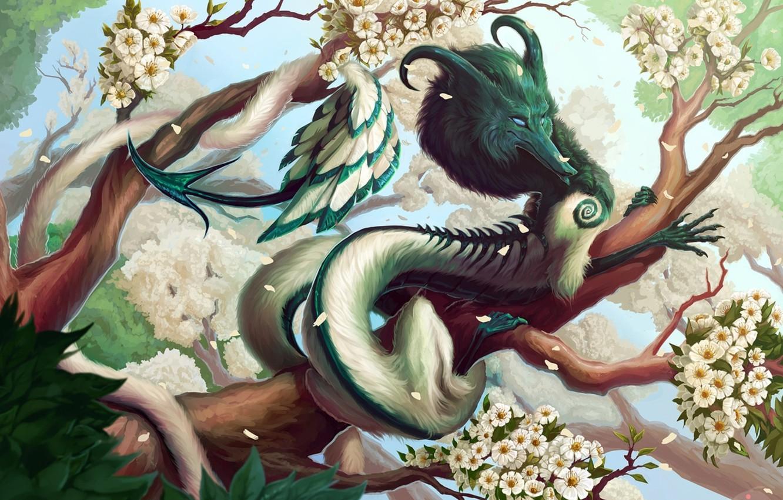 Фото обои рога, horns, blue sky, цветущие деревья, голубое небо, fantasy art, зеленая листва, flowering trees, сказочное …