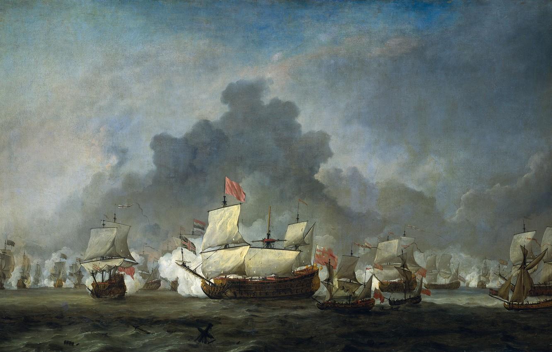 Обои масло, Виллем ван де Велде Младший, парус, холст, Эпизод Четырехдневного Сражения, картина, корабль. Разное foto 8
