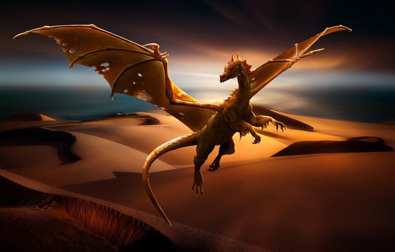 Фото обои песок, природа, пустыня, дракон, фэнтази