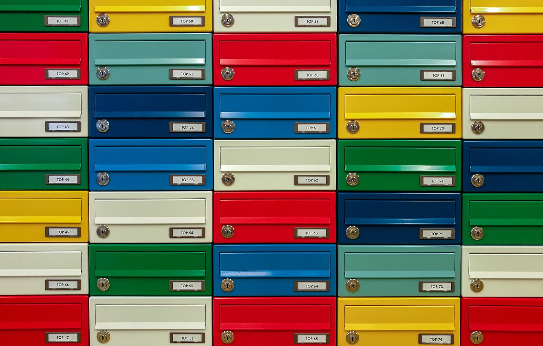 Фото обои текстура, разноцветные, почтовые ящики