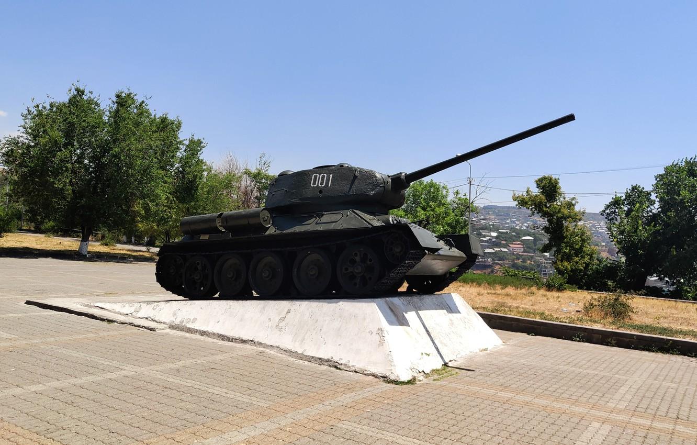 Фото обои танк, экспонат, Ереван, Т-34-85