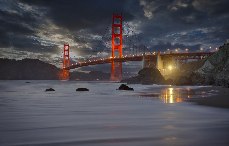 Фото обои пейзаж, закат, горы, тучи, мост, пролив, камни, скалы, освещение, Калифорния, Сан-Франциско, Золотые ворота, США, Golden …