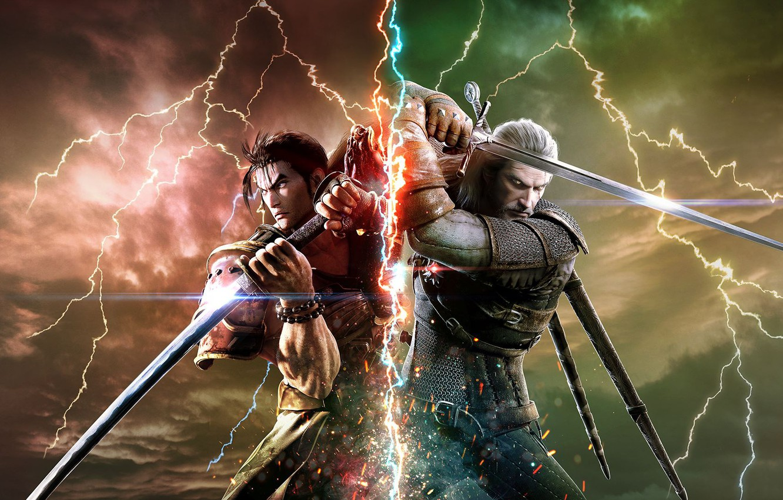 Фото обои battlefield, sword, game, Soul Calibur, The Witcher, katana, man, fight, ken, wolf, blade, samurai, armour, …