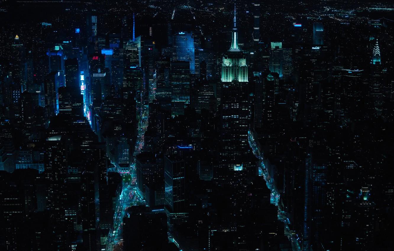 Фото обои свет, ночь, город, огни, дома, США, улицы, New York, Нью - Йорк, New - York