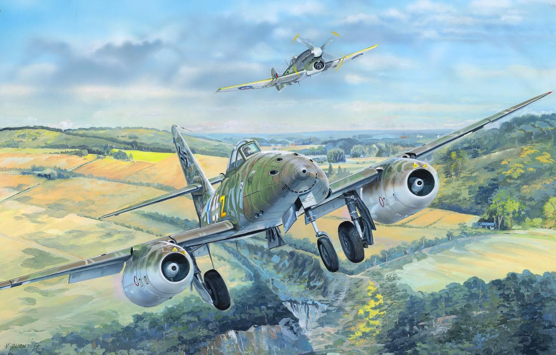 Фото обои Messerschmitt, Hawker Tempest, Schwalbe, Me 262A-1a, Me-262