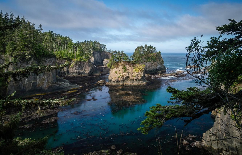Фото обои небо, вода, скалы, побережье