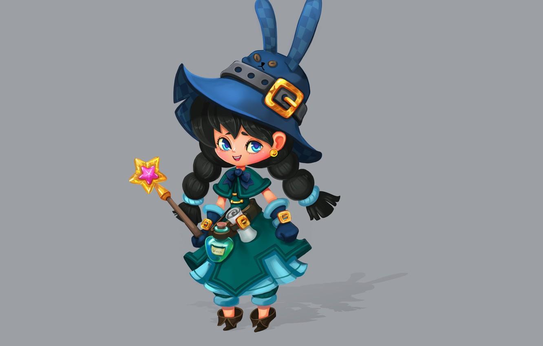 Фото обои игра, арт, персонаж, волшебная палочка, ание, ведьмочка, Smirnоv School, Rikka Desunyaaa