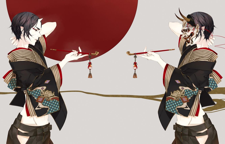 Фото обои секси, трубка, демон, арт, парень, Hoozuki no Reitetsu, хладнокровный Хозуки
