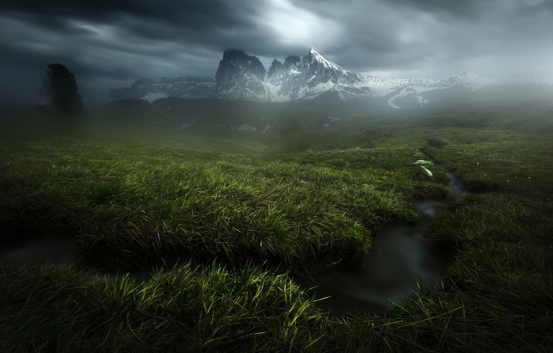 Фото обои трава, горы, тучи, ручей, Альпы