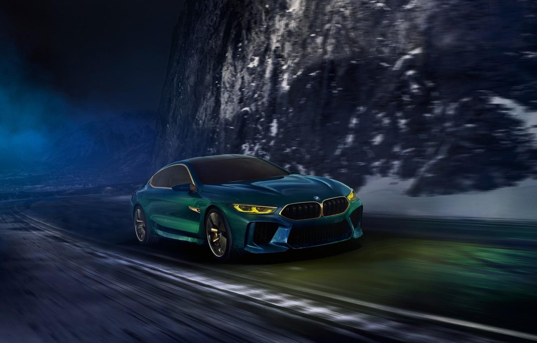 Фото обои дорога, ночь, движение, купе, BMW, 2018, M8 Gran Coupe Concept