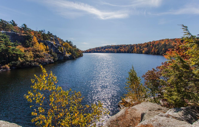 Фото обои осень, горы, озеро, фото, USA, Minnewaska Gardiner