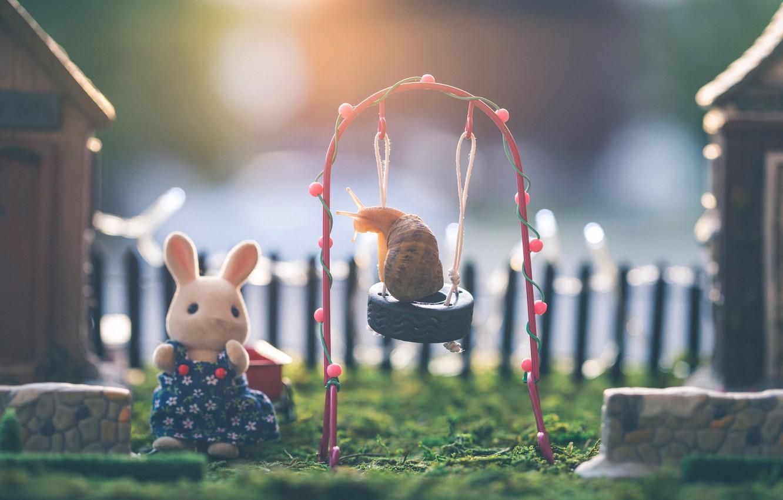 Фото обои макро, качели, игра, улитка, двор, зайчик, детская площадка