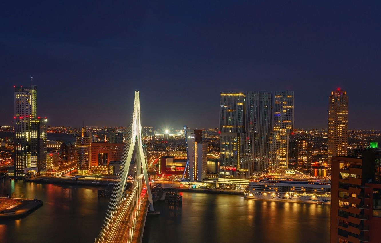 Фото обои ночь, мост, огни, река, здания, дома, фонари, Нидерланды, набережная, Роттердам