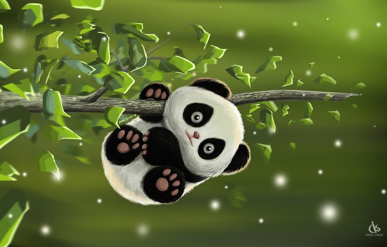 Фото обои игра, малыш, арт, панда, деская, Amol Shede, Cute Panda