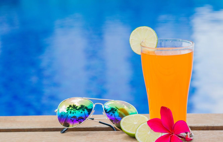 Фото обои пляж, лето, отдых, сок, очки, juice, summer, beach, каникулы, orange, paradise, drink, citrus, vacation, tropical, …