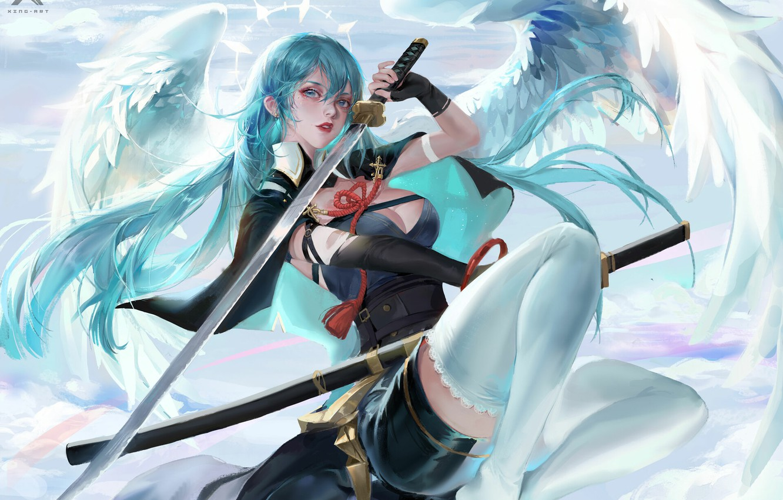 Фото обои катана, корсет, накидка, голубые волосы, нимб, клинок, angel, ножны, белые крылья, by Star Academy