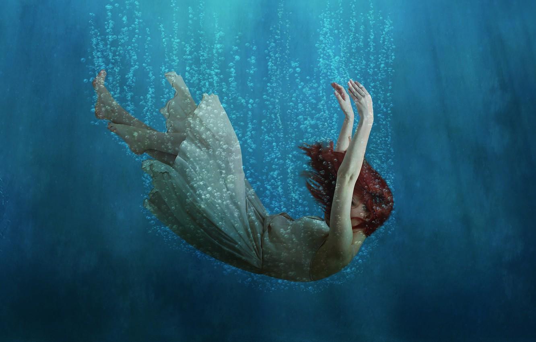 Фото обои глубина, платье, рыжие волосы, red hair, dress, погружение, diving, air bubbles, depth, пузырьки воздуха, девочка …