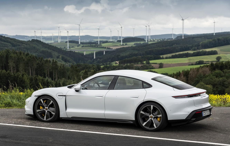Фото обои купе, Porsche, Turbo S, 2020, четырёхдверное, Taycan