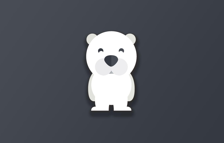 Фото обои bear, minimalism, animal, funny, digital art, artwork, cute, simple background, Polar bear