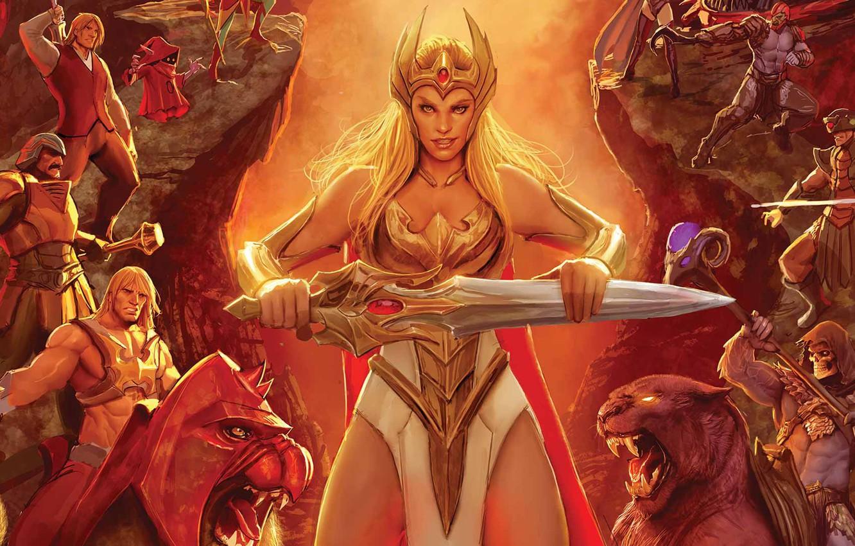 Фото обои cartoon, warrior, powerful, strong, muscular, Masters of the Universe, She-Ra, He-Man, He Man, She-Ra Princess …