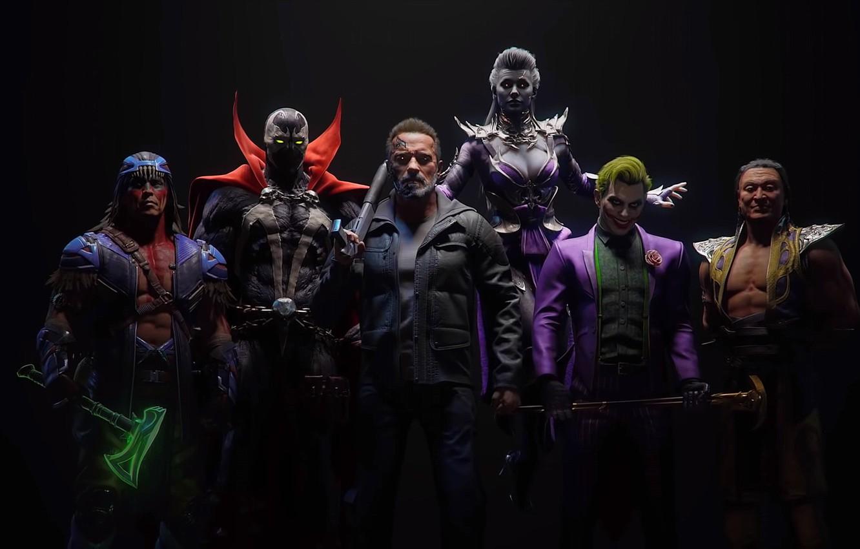 Фото обои Игра, Боец, Смертельная Битва, Joker, Terminator, Shang Tsung, T-800, Sindel, Spawn, Nightwolf, Mortal Kombat 11, …