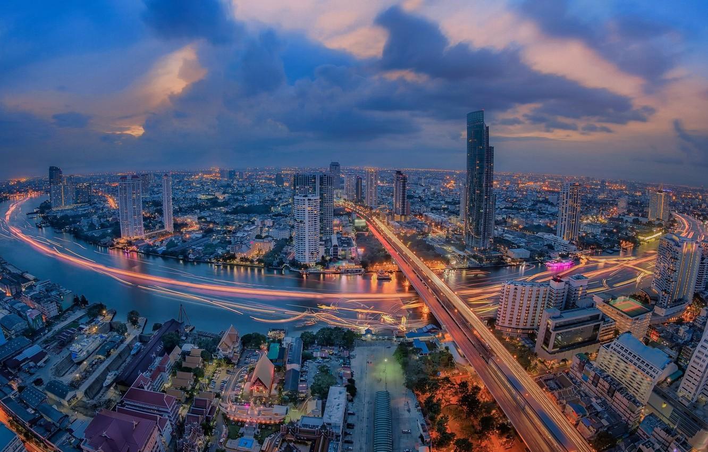 Фото обои ночь, город, огни, река, Таиланд, Бангкок, Thailand, Bangkok