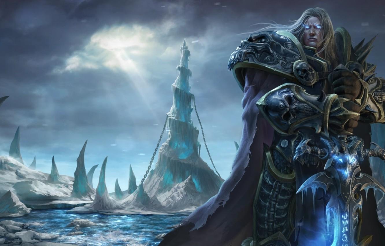 Фото обои меч, sword, undead, нежить, frostmourne, Arthas Menethil, Варкрафт 3, рыцарь смерти, death knight, frozen throne, …