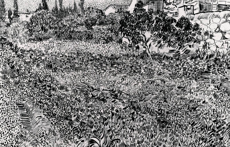 Фото обои цветы, растительность, растения, чёрно - белое, Винсент ван Гог, Garden with, Flowers 2