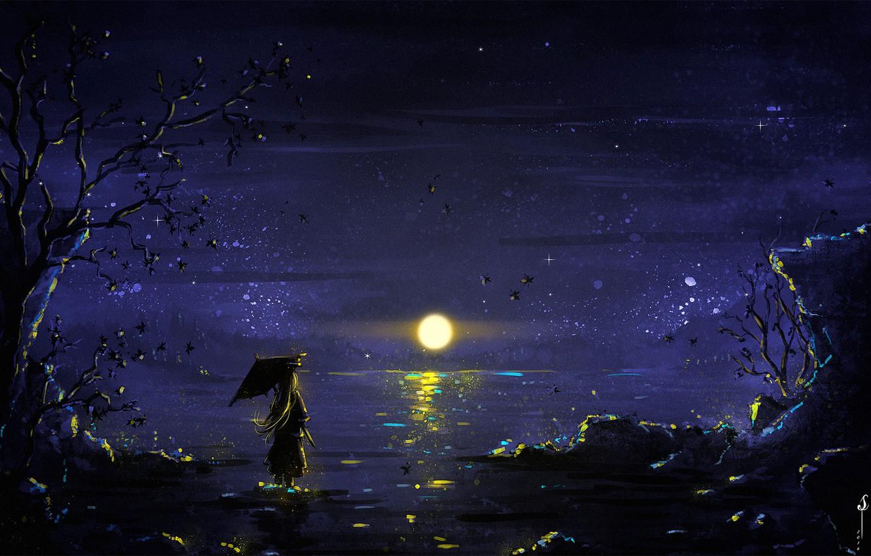 Фото обои girl, Moon, sky, trees, umbrella, night, art, lake, stars, reflection, digital art, artwork, illustration, painting …