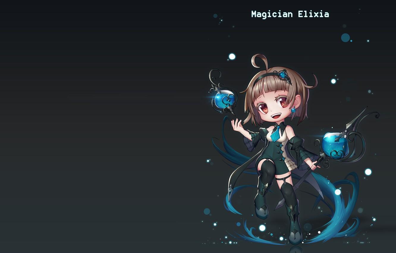 Фото обои магия, аниме, фэнтези, арт, посох, Magician Elixia, Euna __ Euna