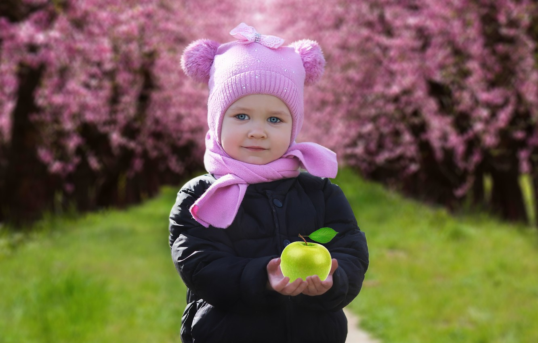 Фото обои фон, яблоко, ребенок, весна, девочка