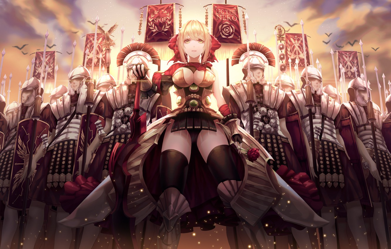 Фото обои girl, cleavage, soldiers, armor, breast, anime, army, weapons, blonde, swords, spears, chest, helmet, legion, banner, …