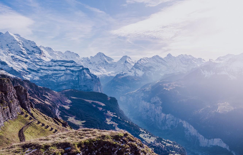 Фото обои небо, трава, снег, горы, природа, высота, вершина