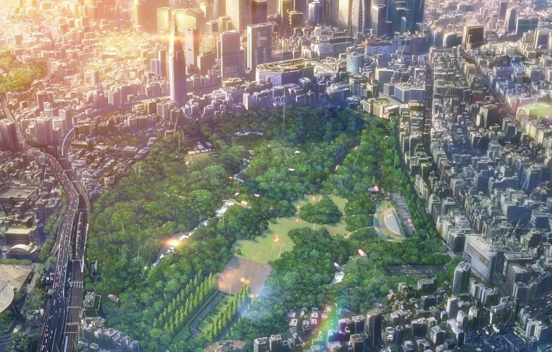 Фото обои панорама, мегаполис, вид сверху, Kotonoha no Niwa, городской парк, Сад Изящных Слов, the Garden of …