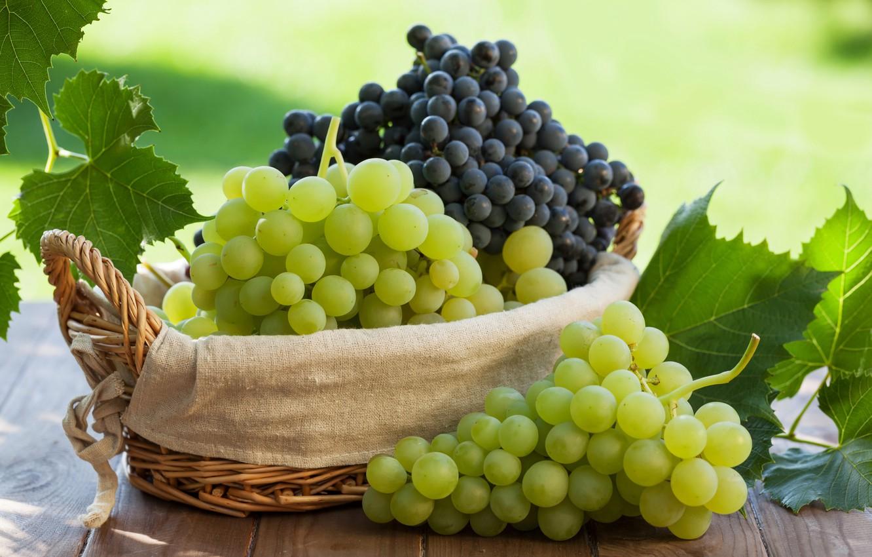 Фото обои листья, виноград, корзинка