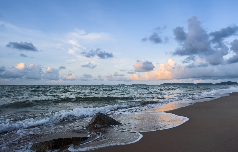 Фото обои песок, море, волны, пляж, лето, закат, summer, beach, sea, sunset, blue, seascape, sand, wave