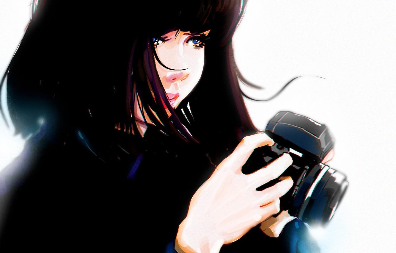 Фото обои руки, фотоаппарат, голубые глаза, черные волосы, art, портрет девушки, Punksy