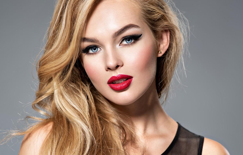Фото обои девушка, лицо, модель, макияж, прическа, блондинка, локоны