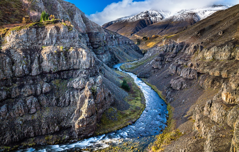 Фото обои горы, природа, река