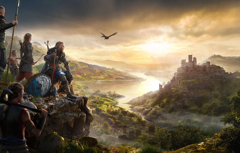 Фото обои замок, птица, крепость, викинги, ассасины, Assassin's Creed Valhalla