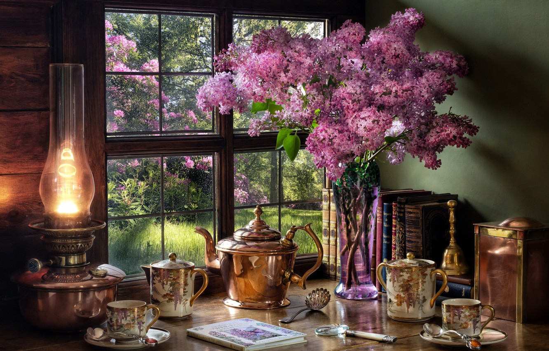 Фото обои стиль, книги, лампа, чайник, окно, чашки, ваза, натюрморт, сирень