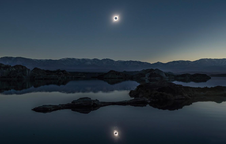 Фото обои отражение, Солнце, Луна, затмение, Moon, Sun, eclipse, reflection