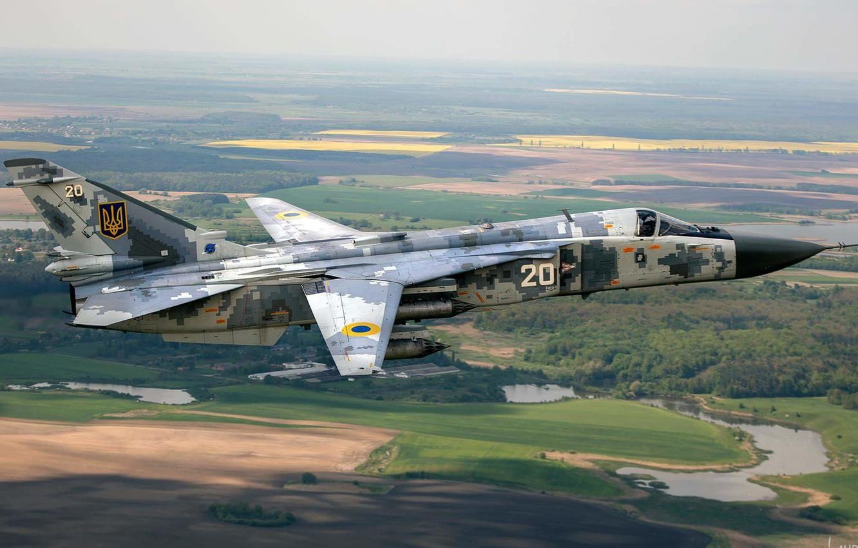 Фото обои Полёт, Бомбардировщик, Су-24, Ukraine Air Force, АТО