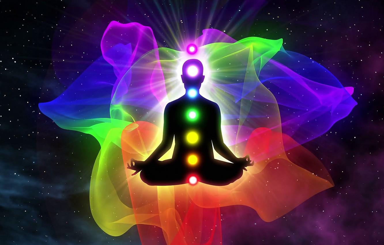Фото обои цвета, спектр, медитация, чакры, аура