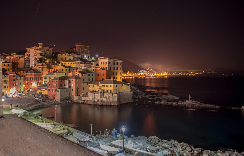 Фото обои огни, вечер, Италия, Лигурия