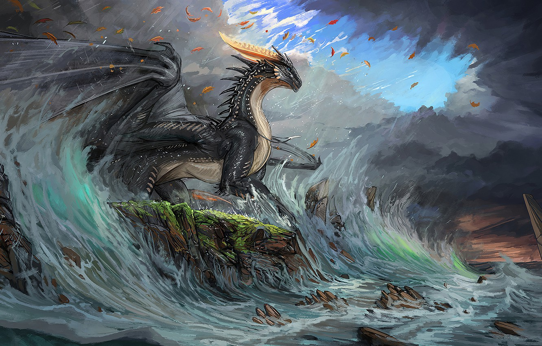 Фото обои waves, fantasy, horns, sky, sea, coast, wings, blue eyes, clouds, rocks, dragon, digital art, artwork, …