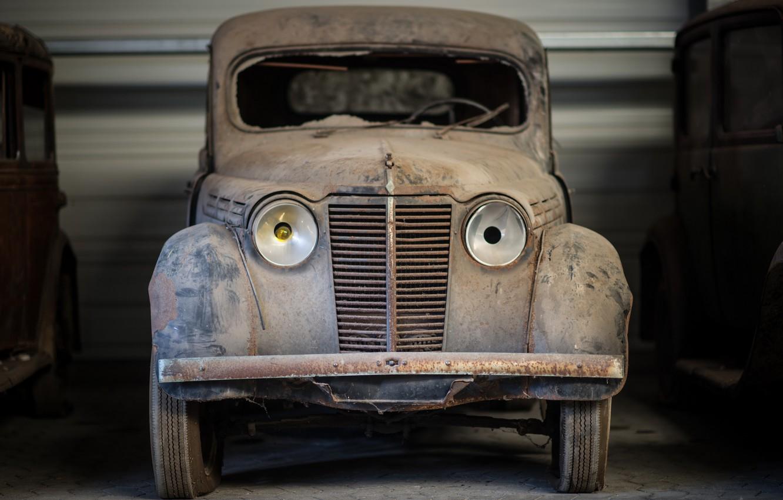 Фото обои машина, гараж, лом