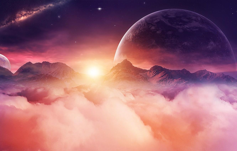 Фото обои space, universe, moon, sky, digital, mountains, stars, night sky, planet