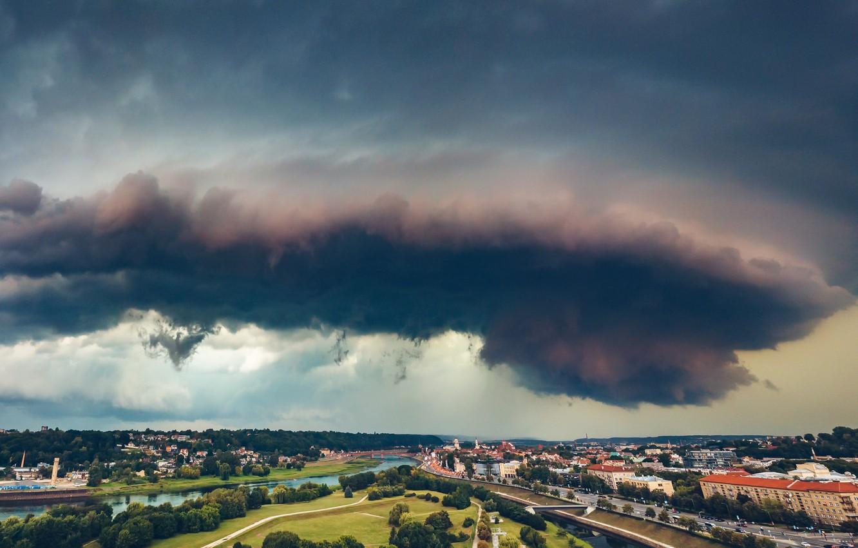 Фото обои тучи, город, Lietuva, Kaunas