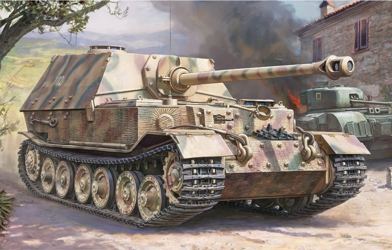 Фото обои Арт, САУ, вермахт, самоходно-артиллерийская установка, истребитель танков, Elefant
